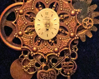 Steampunk Re-purposed Vintage Jewelry Necklace