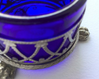 Antique third empire silver and cobalt blue glass saltshaker, edwardian accessory, table accessories