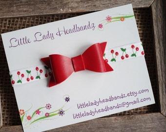 Cherry headband Red bow faux leather baby headband - toddler infant newborn headband