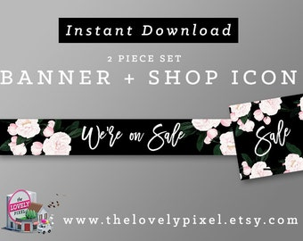 Floral Shop Sale Banner | INSTANT DOWNLOAD | Avatar + Store Banner | Black and pink flowers, high fashion, sale banner and shop icon