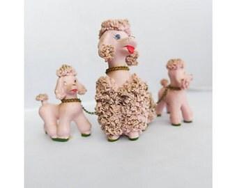 Vintage Pink Spaghetti Poodle Set 3 (Mom and Kids)