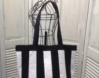 Bleu Redux Upcycle Black and White Striped Denim Tote (FC18)