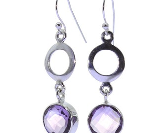 Amethyst Earrings, 925 Sterling Silver, Unique only 1 piece available! color purple, weight 4.1g, #37323