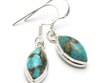 Copper Blue Turquoise Earrings, 925 Sterling Silver, Unique only 1 piece available! weight 3.5g, #44135
