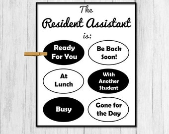 Resident Assistant Door Sign Digital Download College RA Printable Art Gift for Resident Assistant Gift for RA College Dorm Decor Printable