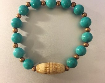 Carved Bone and Turquoise Bracelet