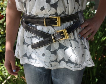 Unique vintage / bohemian leather two buckle belt