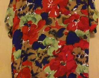 80s/90s Abstract Flower Pattern Top by Martinique/Martinique/Flower Top/Vintage Flower Top