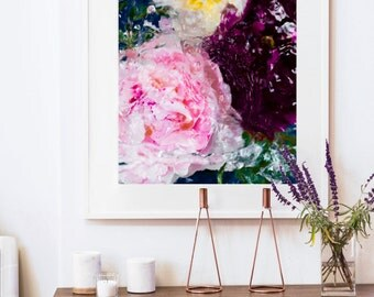 Floral Print, Peony Art, Living Room Decor, Magenta art by Jessica Kenyon