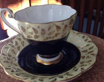 Vintage Royal Standard black and gold teacup