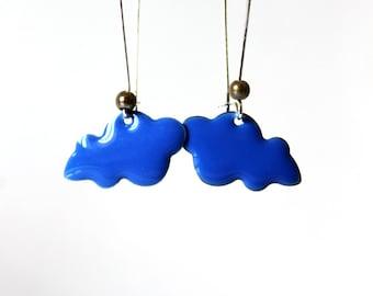 Earring large sleeper blue enamelled cloud