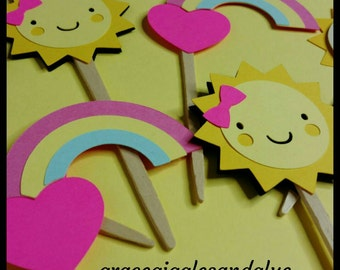 "12 ""You Are My Sunshine"" themed Cupcake Toppers, Sunshine Cupcake Toppers"