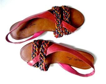 1980s sandals US 7.5 / Woven SanRemo sandals / Huarache sandals
