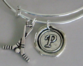 FIELD HOCKEY Bangle Bracelet Personalize W/ Initial Charm Drop / Under Twenty / Usa Gift For Her Made In Usa H1
