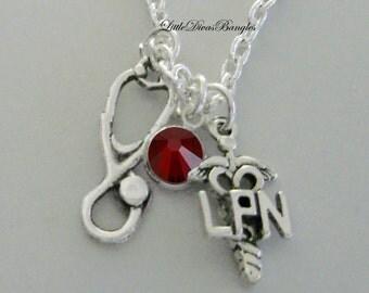 LPN Nurse / Stethoscope CHARM  Chain Necklace W/ Swarovski Birthstone / LPN Necklace / Gift For Her / Under 20  Usa   NK1