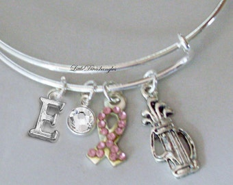 Awareness Bangle W/ GOLF Bag / Pink Crystal Ribbon t W/ A Birthstone / Initial Bangle Under Twenty / Gift For Her USA C1