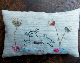 Easter Rabbit - One Off Applique Free Motion Embroidered Lavender Small Cushion.