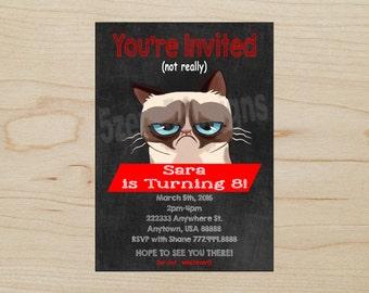Grumpy Cat Invitation, Grumpy Cat Birthday Party, Grumpy Cat Party, DIGITAL DOWNLOAD