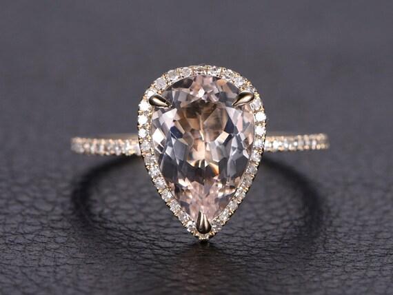 8x12mm Pear Cut Pink Morganite Ring 14k Yellow Gold Morganite