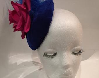 Blue velour pink rose button fascinator