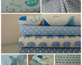 Children's Blue Fabric Bundle 4 Fat Quarters. Ellies, Spots, Boats & Whales. 100% Cotton. Great for the Nursery - Playroom - Bedroom.