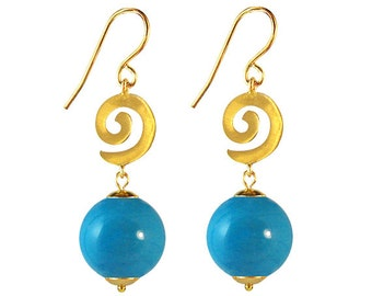 Murano Glass Earrings  'Gold Spiral' in Turquoise or Coral Glass by Mystery of Venice, Italy, Italian Glass Earrings, Italian Jewelry