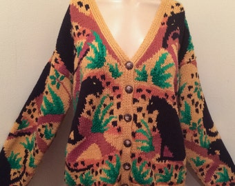 Vintage 80's a avant guard safari Panther retro cardigan sweater