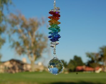 RAINBOW, Crystal Suncatcher, Car Charm, Swarovski 30mm Crystal Clear Prism Rainbow Maker, Car Rearview Mirror Charm, Chakra