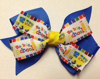 "4"" back to school bus pencil blue yellow rainbow crayon hair bow clip baby toddler kindergarten teen home school barrette pre 1st 2nd grade"