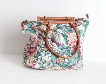 Vintage Floral Canvas Tote Bag