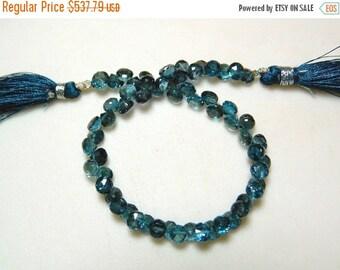 ON SALE 50% London Blue Topaz Beads, Blue Topaz Onion Briolettes, Faceted Beads, 7mm Beads, 8 Inch Strand, SKU-Dscn5793