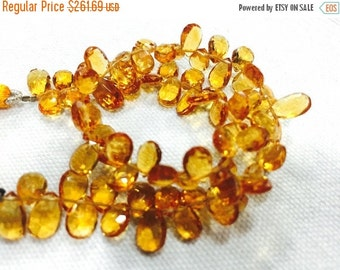 ON SALE 50% AAA Citrine Faceted Pear Beads, Pear Shaped Faceted Briolettes, 5x9mm To 7x12mm, 8 Inches, Sku-A40