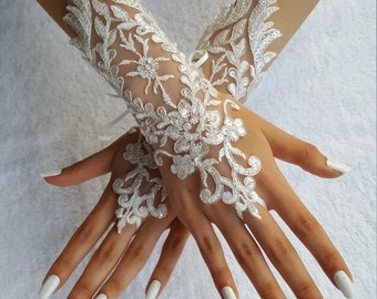 ivory Silver frame, ivory wedding glove unique Original design Wedding Gloves ivory lace gloves Fingerless Gloves Free Ship