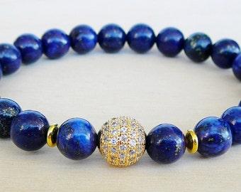 Lapis Lazuli Bracelet for women Bracelet for mom Bracelet for her Beaded bracelets for women Cubic Zirconia Bracelet Blue bead Bracelet