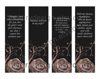 Beauty and the Beast Printable Bookmarks - Jeanne-Marie LePrince de Beaumont - Literature Bookmark - Librarian Gift - Book Gift - Book Quote