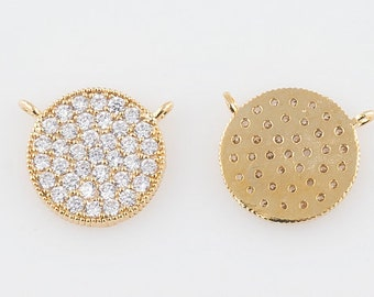 CZ Pave White Crystal Circle Disk - 11mm - One Disk