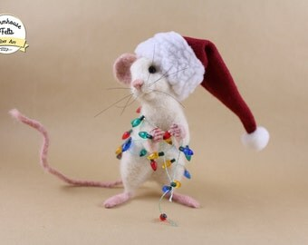 Needle Felted Mouse - Christmas Mouse -  Needle Felted Animals - Handmade - Made to Order - Please Read Entire Product Description