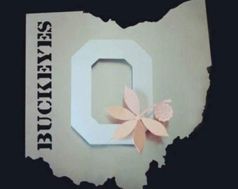 Ohio State Buckeyes Metal Art Stainless Steel and Copper