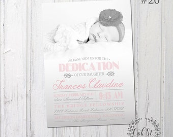 Baby Girl Baby Boy Birth Announcement, Baby Dedication Announcement, Christening Announcement, Design #20