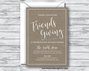 Friends Giving Invitation Fall Dinner Party Invite Friends Giving Potluck Rustic Thanksgiving Dinner Invite Autumn Thanksgiving Invite - 5x7