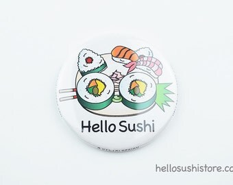 Hello Sushi Mirror (White) – Pocket Mirror, Compact Mirror, Makeup Mirror, Vanity Mirror, Japanese Mirror, Asian Art