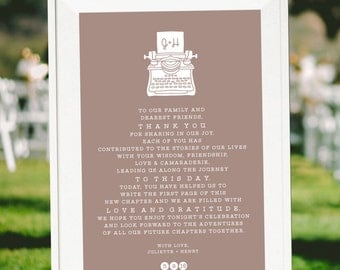 Wedding Thank You, Printable Wedding Sign, Personalized Wedding Sign, Wedding Printable, Typewriter, Book Themed Wedding, DIY Wedding
