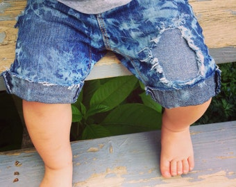Boys Distressed Denim Shorts Reverse Tie Dye Jean Shorts Patched Babies Toddler Shorts