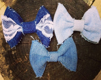 Girls Denim Hair Bows Set Of 3 Headbands or Hair Bow Clips Lace Bows
