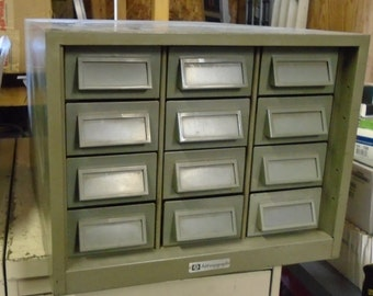 RETRO INDUSTRIAL ADDRESSOGRAPH 12 Drawer Metal Card File
