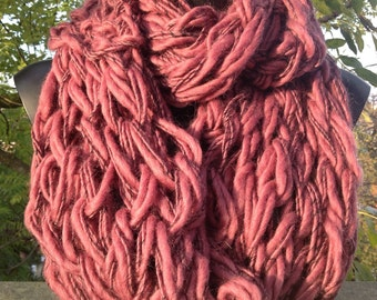 Super chunky oversized arm and hand knitted infinity scarf, shrug, wrap, cowl in merino wool deep purple, plum
