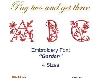 Embroidery design font garden