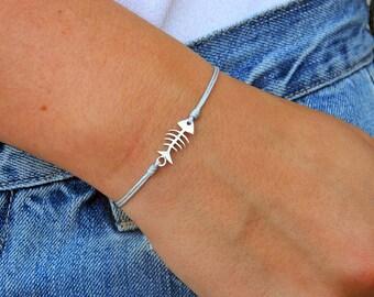 Fishbone bracelet. Sterling silver bracelet.Tiny silver bead bracelet. Silver beaded bracelet. Friendship bracelet. String bracelet.C024