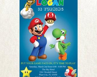 Super Mario Invitation - Super Mario Birthday Party Invitation - Super Mario Printables - Super Mario Birthday PE842
