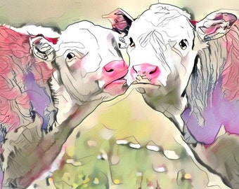 ACEO ATC Cow Kiss digital pink